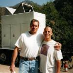 Ed Reiner and Sam Jones (aka Flash Gordon) on the set of LA Heat
