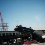 Car flip on the set of LA Heat
